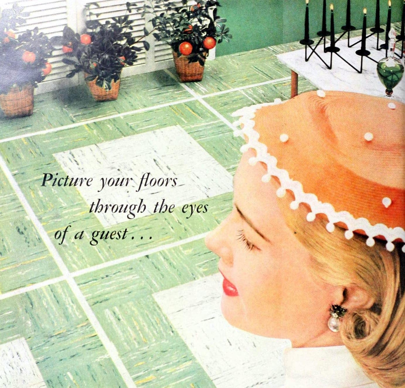 Retro woman from 1955 checking out white and green vinyl tile floor