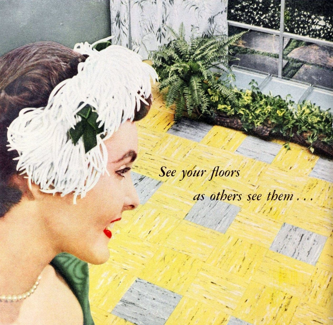 Retro woman from 1955 checking out yellow and grey vinyl tile floor
