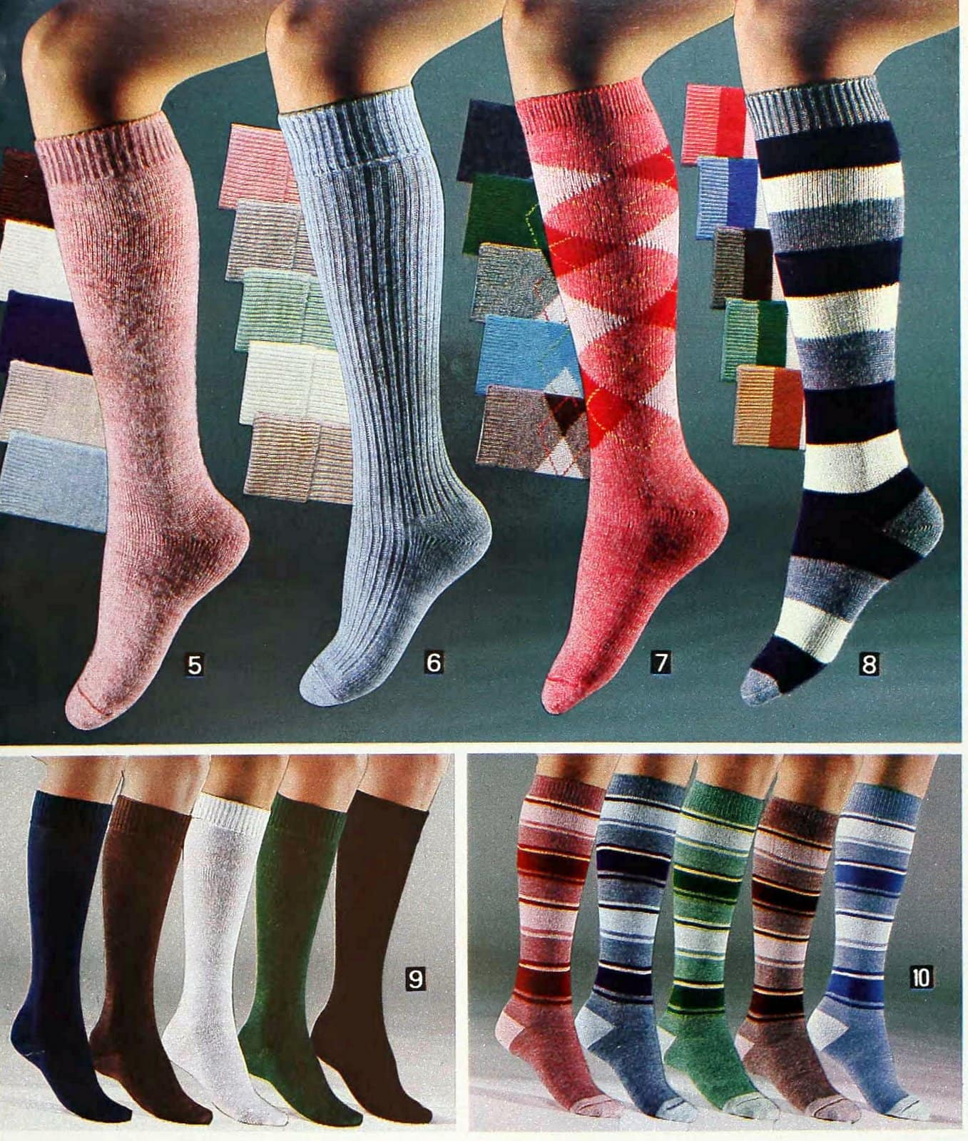 Retro women's sock styles from 1980