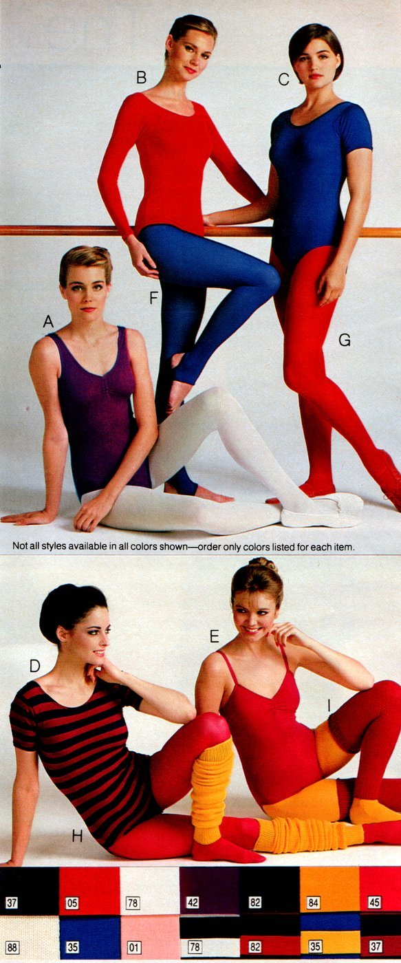 Retro workout wear from the 80s - Colored tights