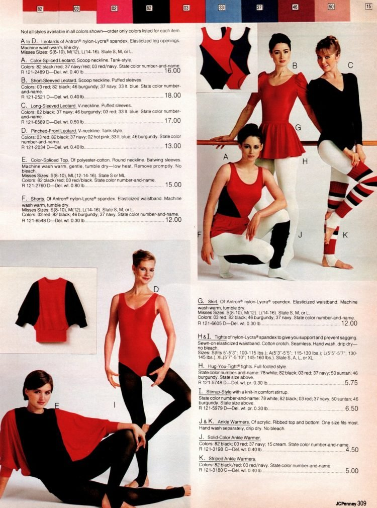 Retro workout wear, tights and leg warmers