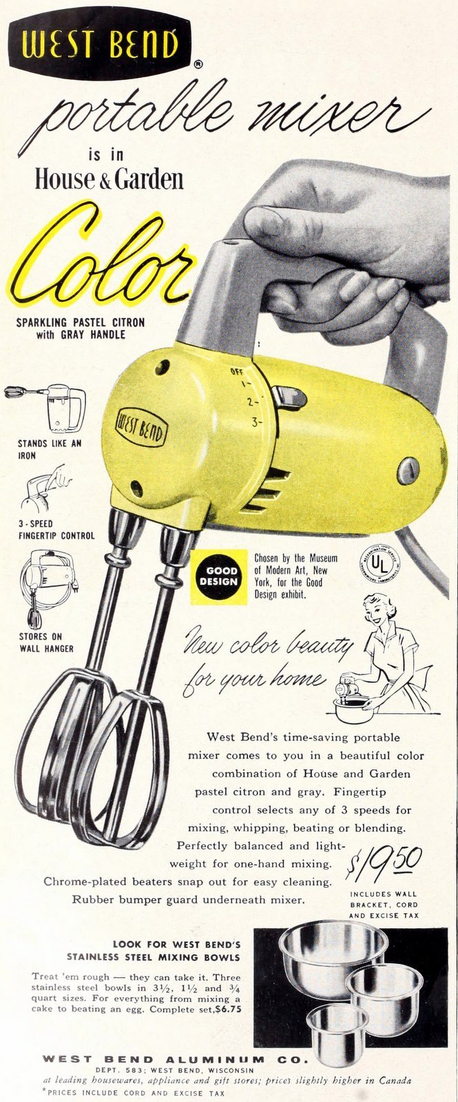 Retro yellow West Bend portable mixer (1950s)