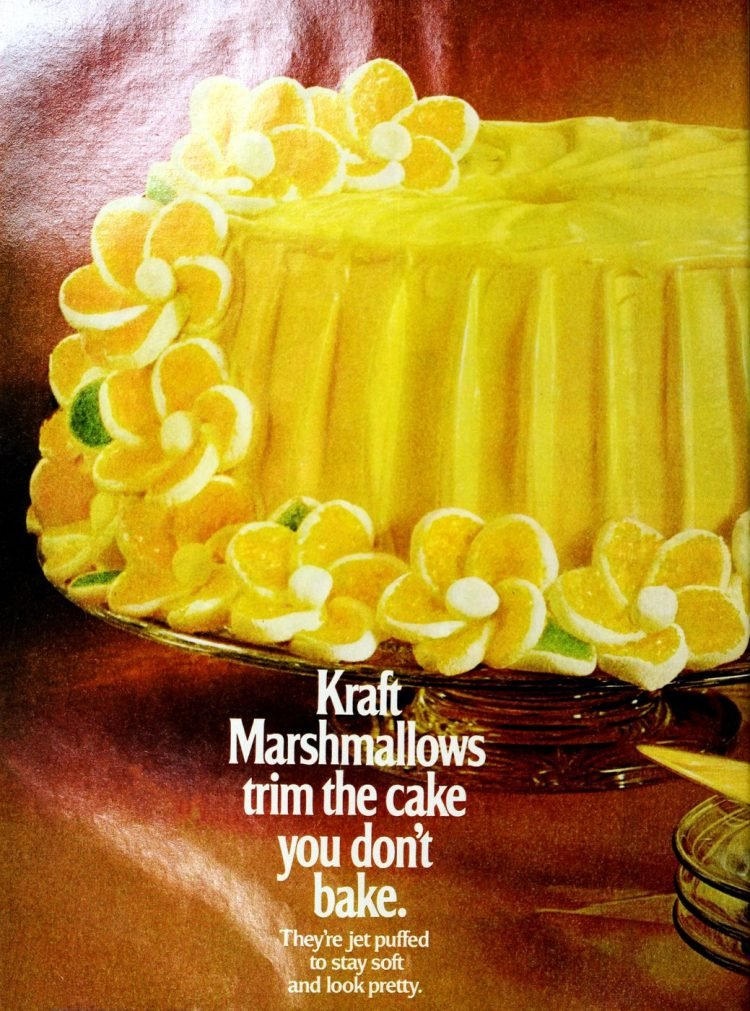 Retro yellow spring daisy cake with marshmallow flowers from 1973 (2)