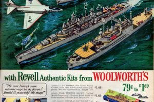 Revell jet plane & guided missile ship kits (1956)