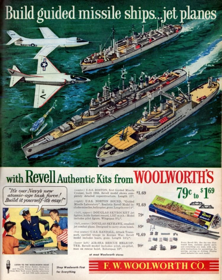 Revell jet plane & guided missile ship kits (1956)