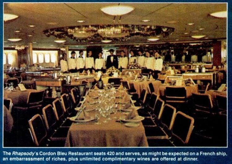 Rhapsody cruise ship Cordon Bleu Restaurant - 1985