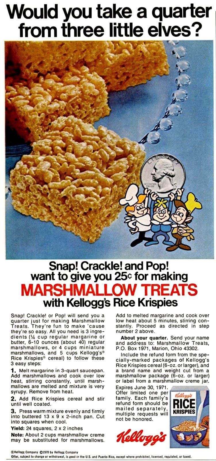 Original Rice Krispies treats recipe (1970)