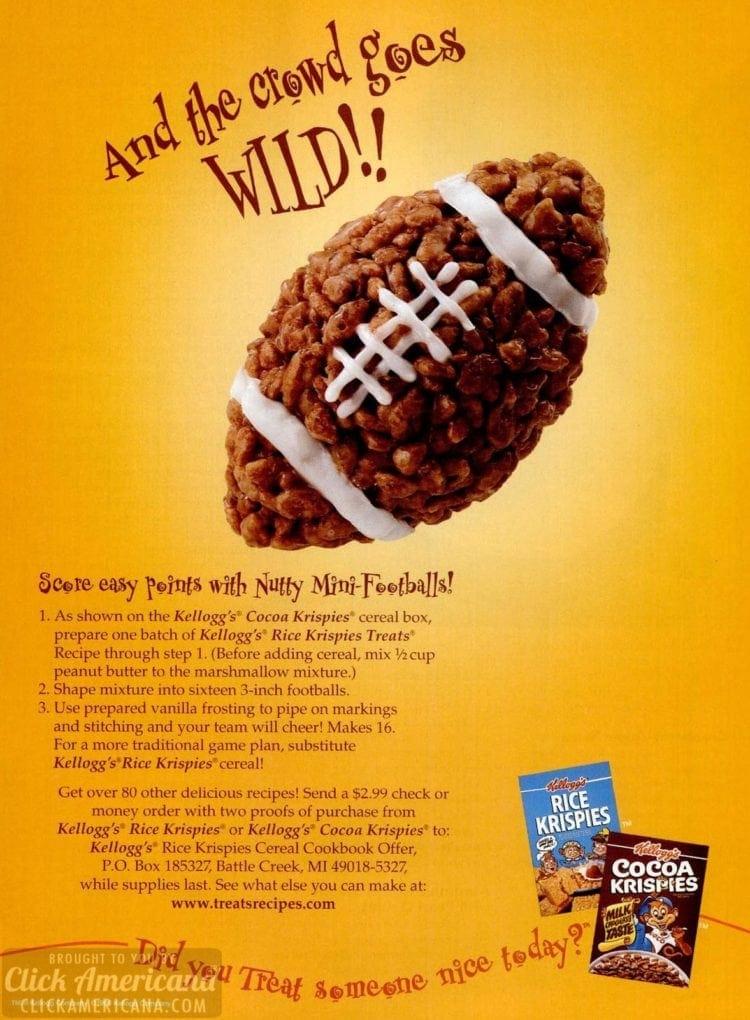 Rice Krispies nutty footballs treat recipe 1996