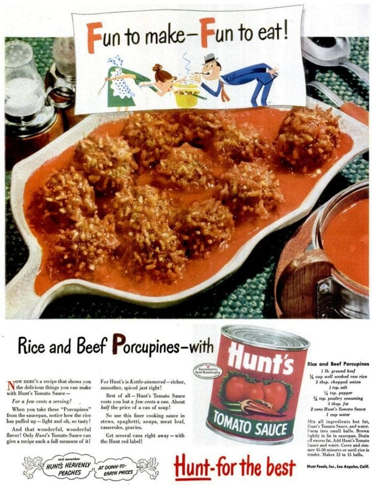 Rice and beef porcupines recipe 1948