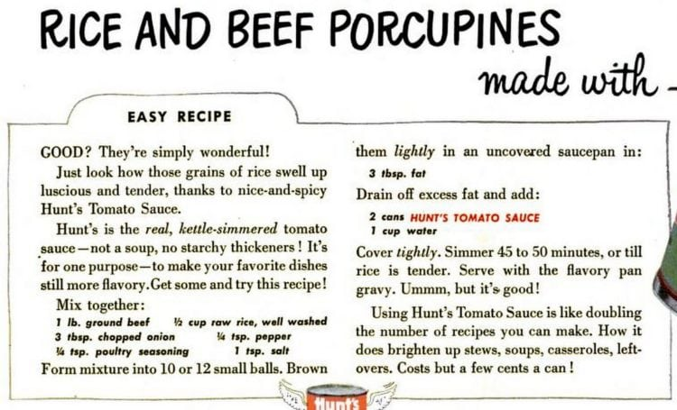 Rice and beef porcupines recipe card