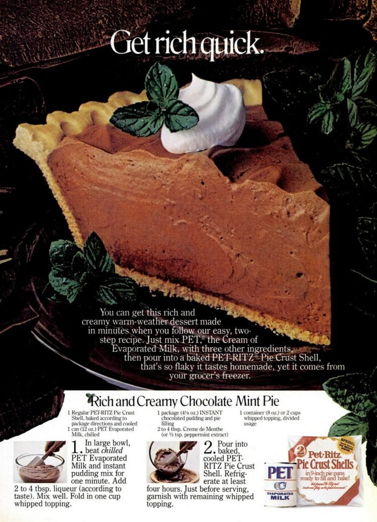 Rich and creamy chocolate mint pie recipe - May 1985