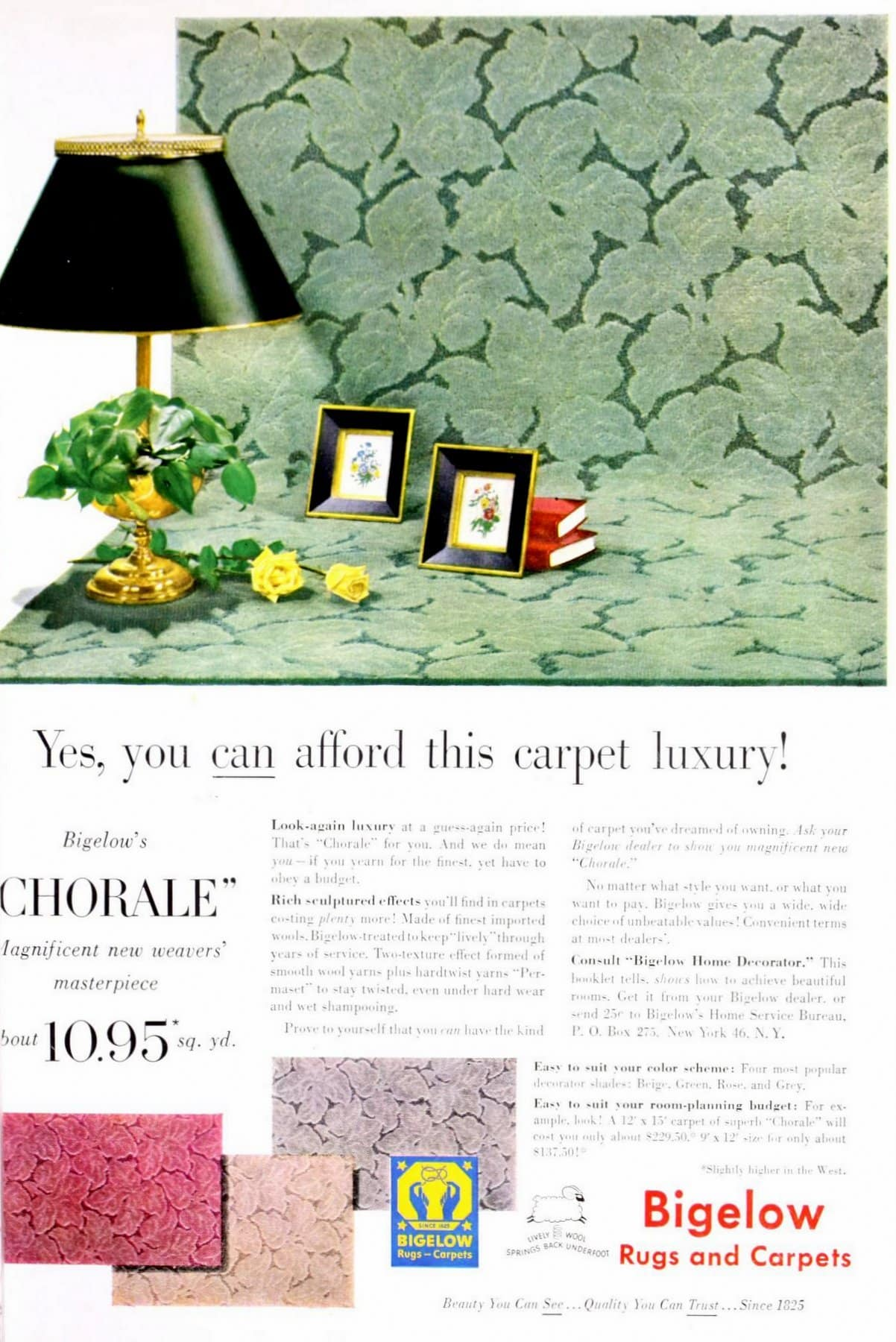 Rich scultured effects on green Bigelow carpet from the 1950s