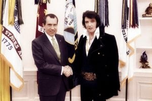 Richard Nixon and Elvis Presley in color