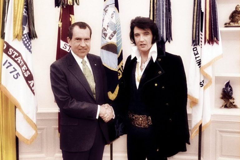 Richard Nixon and Elvis Presley in color