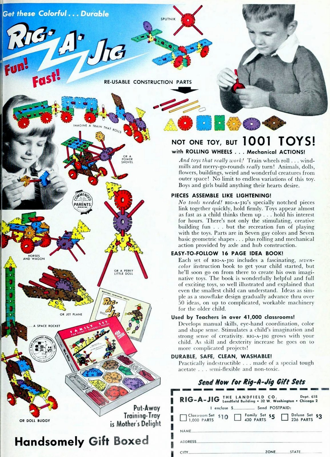 Rig-a-Jig toys with re-usable construction parts (1958)