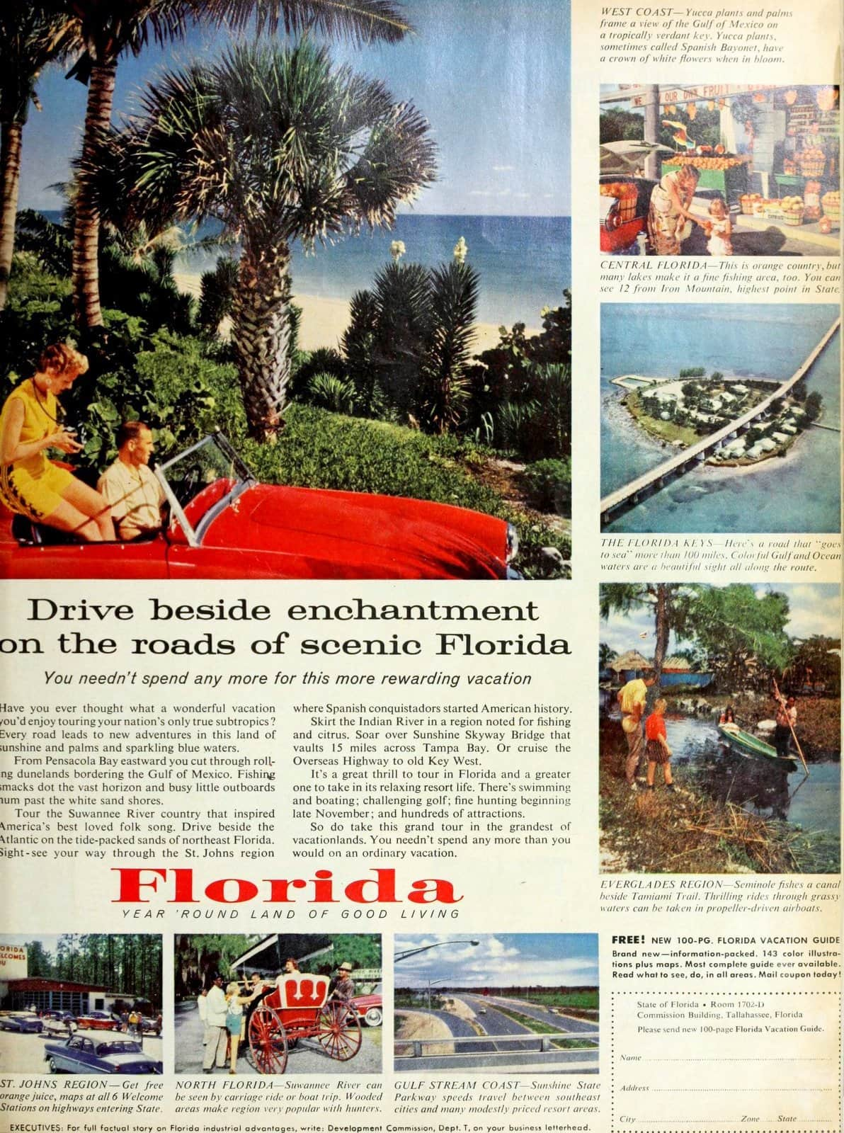 Roads of scenic old Florida in the fifties (1958)