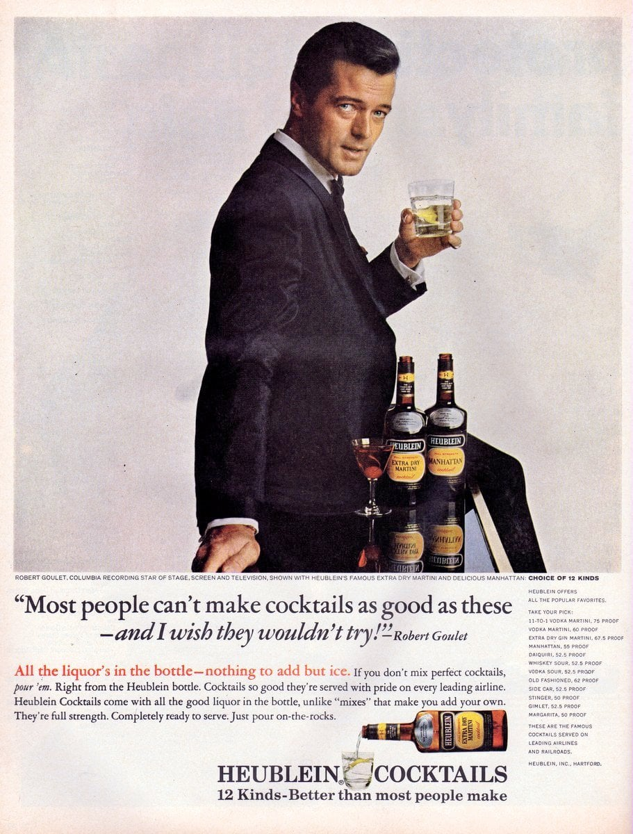 Robert Goulet for Heublein retro ready-made cocktail mixes (1965)