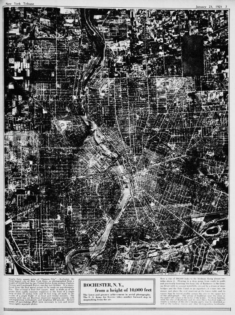 Rochester, New York from 10,000 feet (1921)