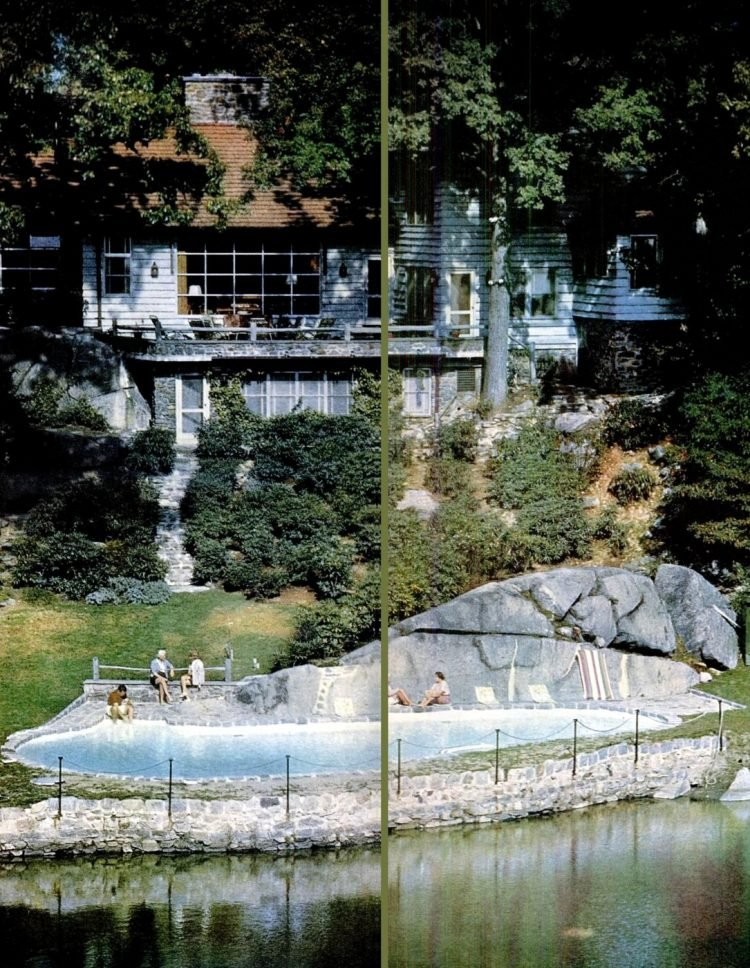 Rock accented lakeside sixties swimming pool design