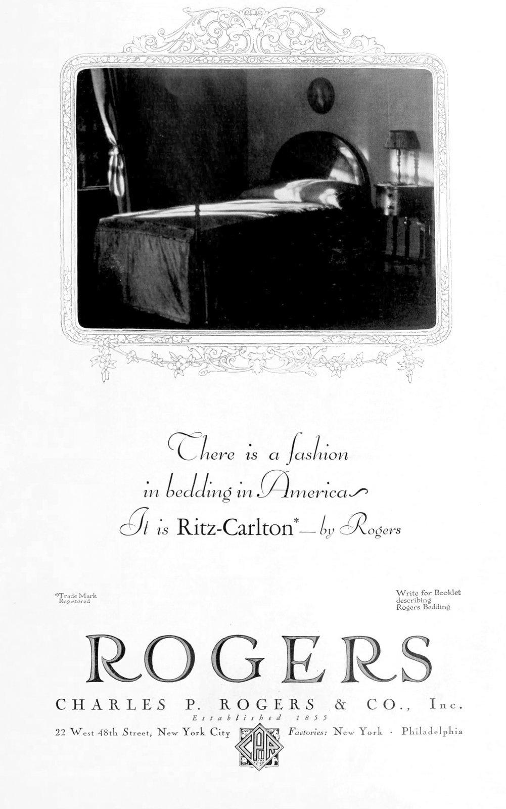 Rogers Ritz-Carlton bedding (1927)