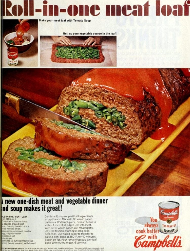 Roll-in-one meatloaf recipe (1966)