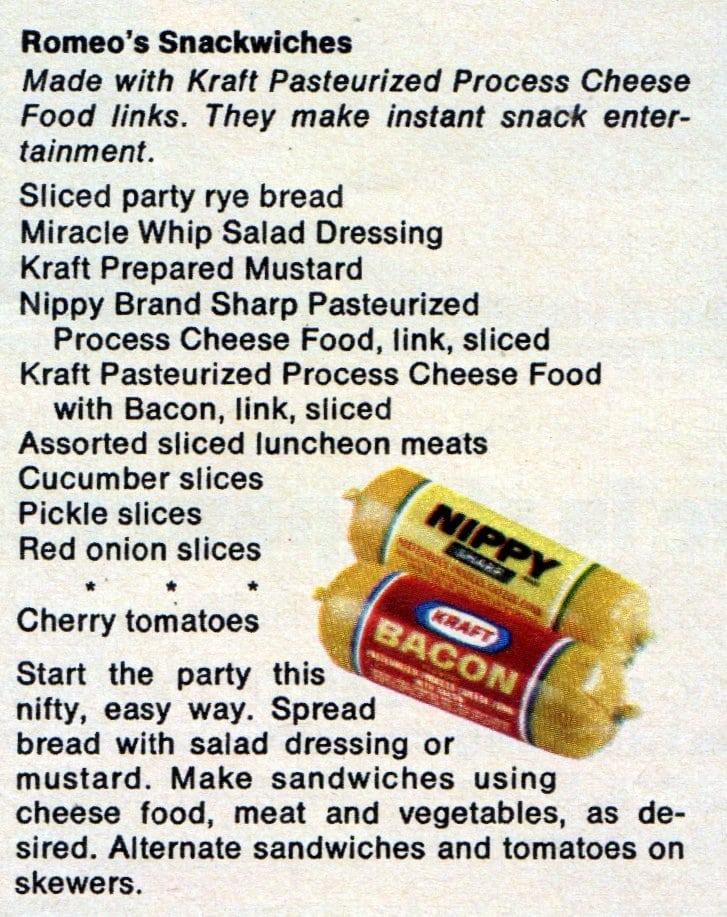 Romeo's snackwiches vintage recipe