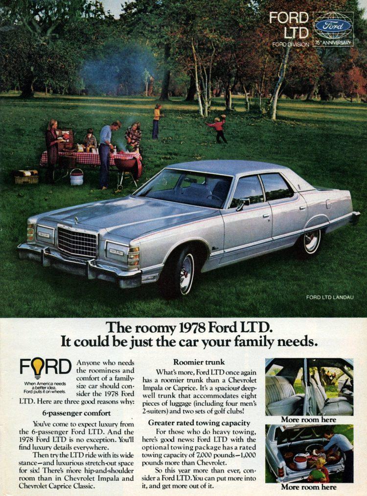 Roomy '78 Ford LTD family cars