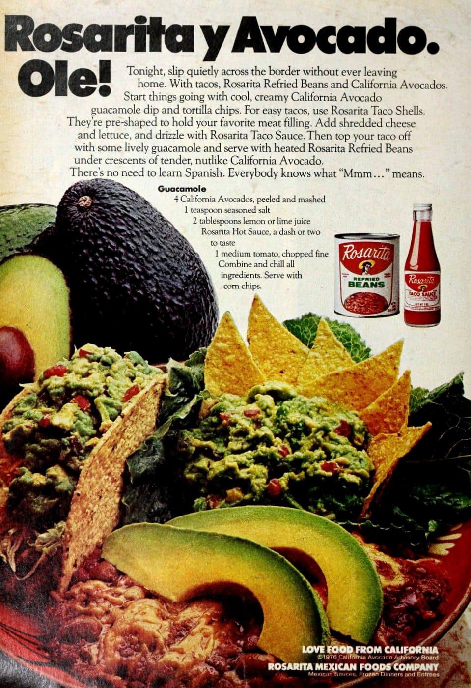 Rosarita guacamole recipe (c1980s)