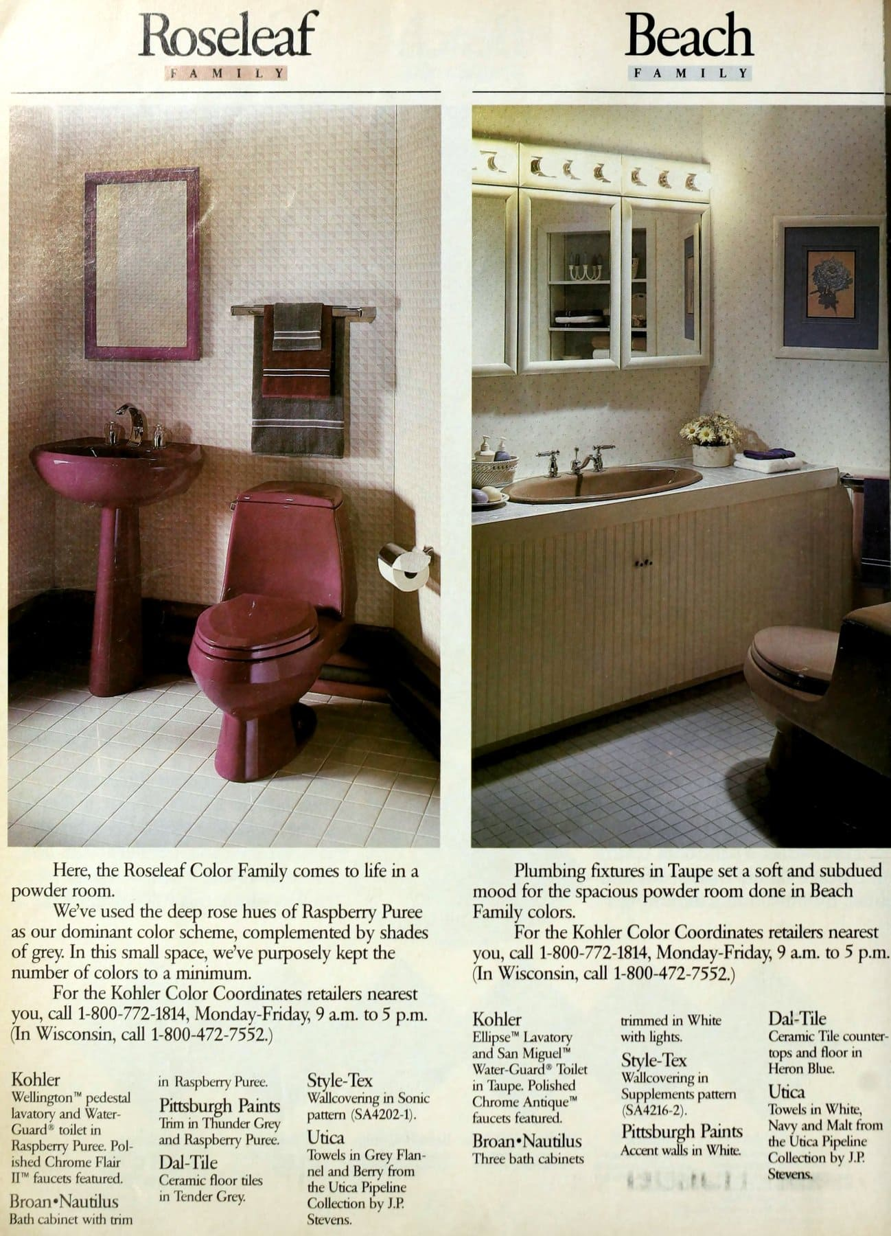 Roseleaf and Beach powder room decor from the eighties