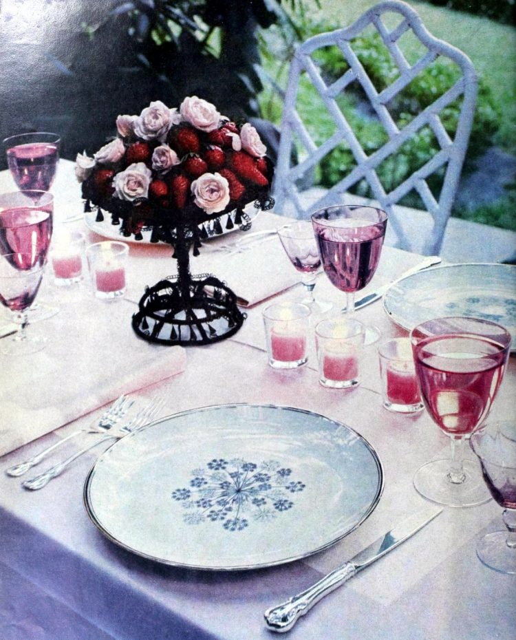 Roses with strawberries in the garden - 1957