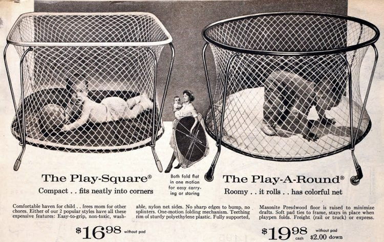 Round and rounded mesh baby playpens from the 1950s