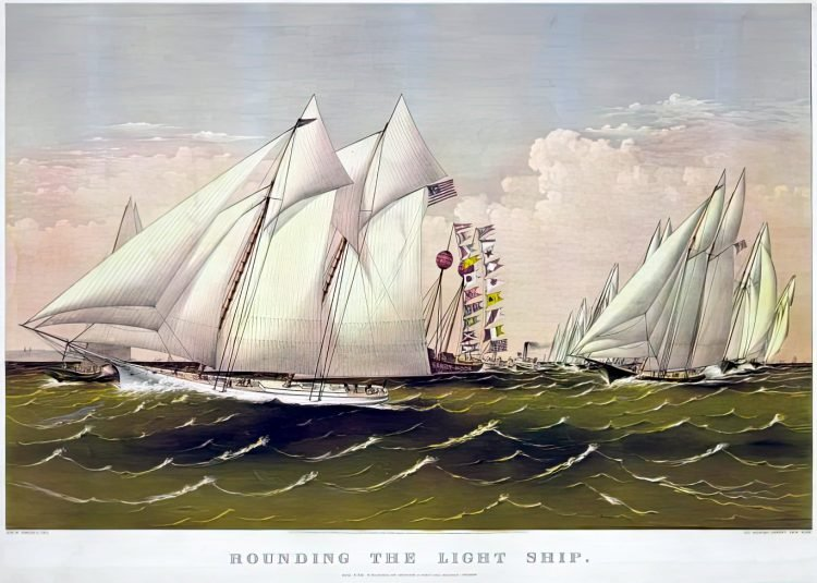 Rounding the light ship - Currier & Ives, c1870