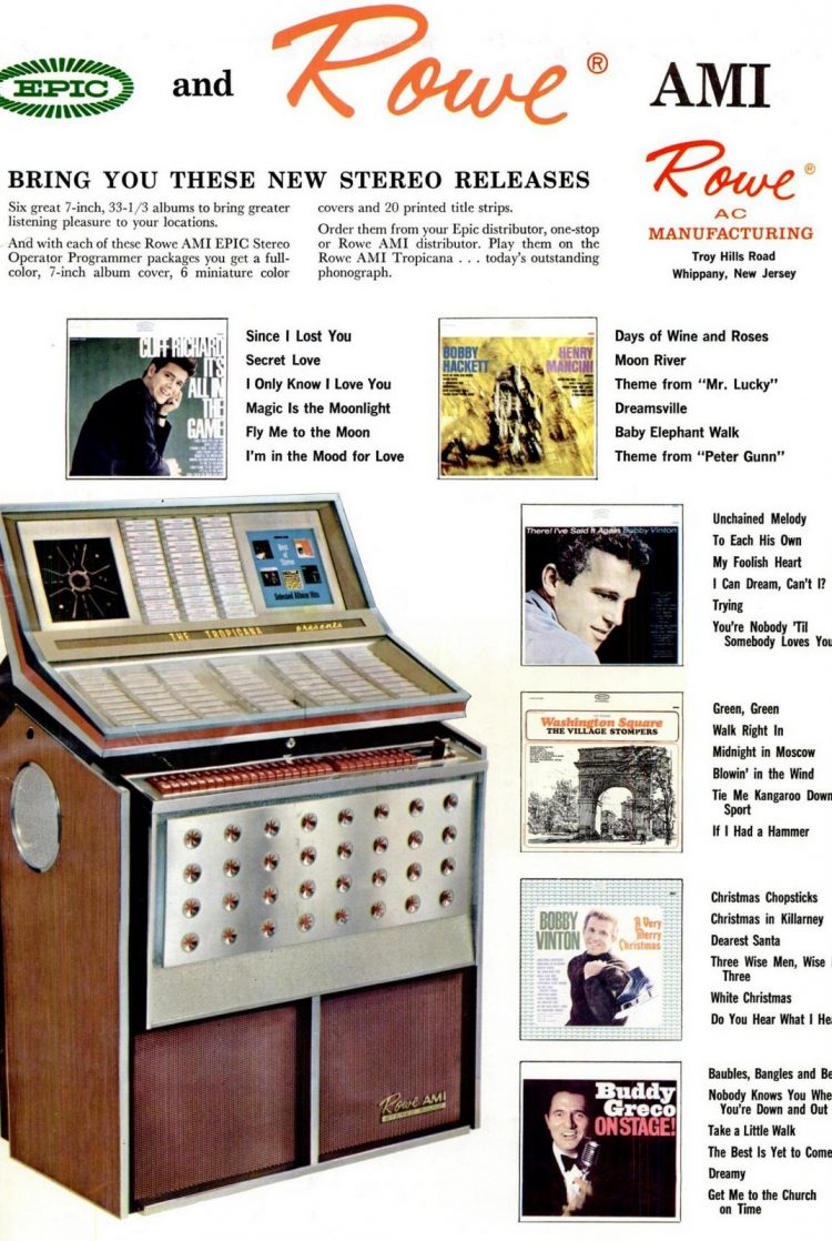 Rowe jukeboxes and Epic records 1964