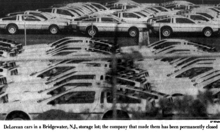 Rows of Delorean cars - Dealerships closed in 1982