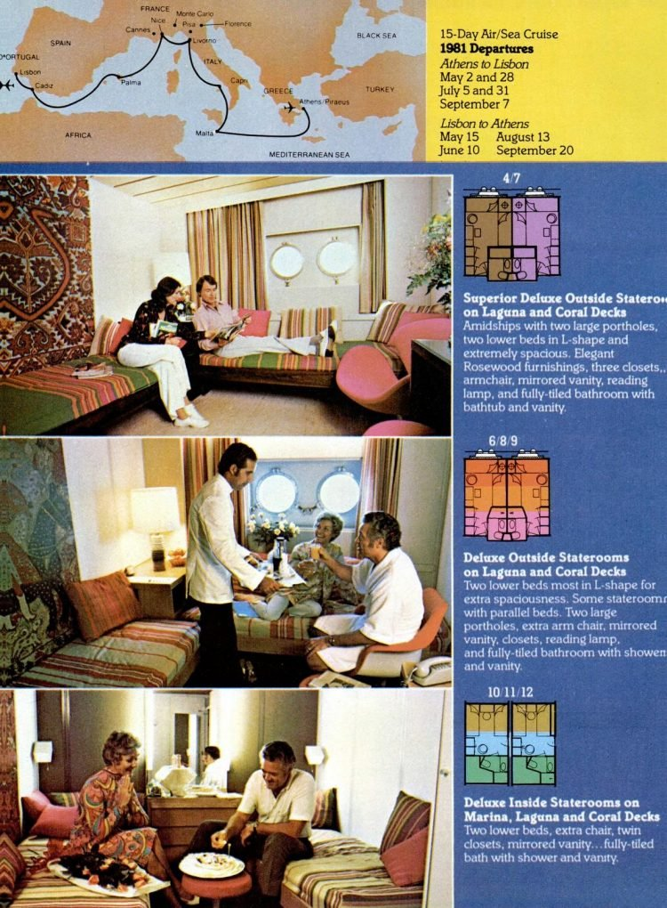Royal Cruise Lines cabins and staterooms (1981)