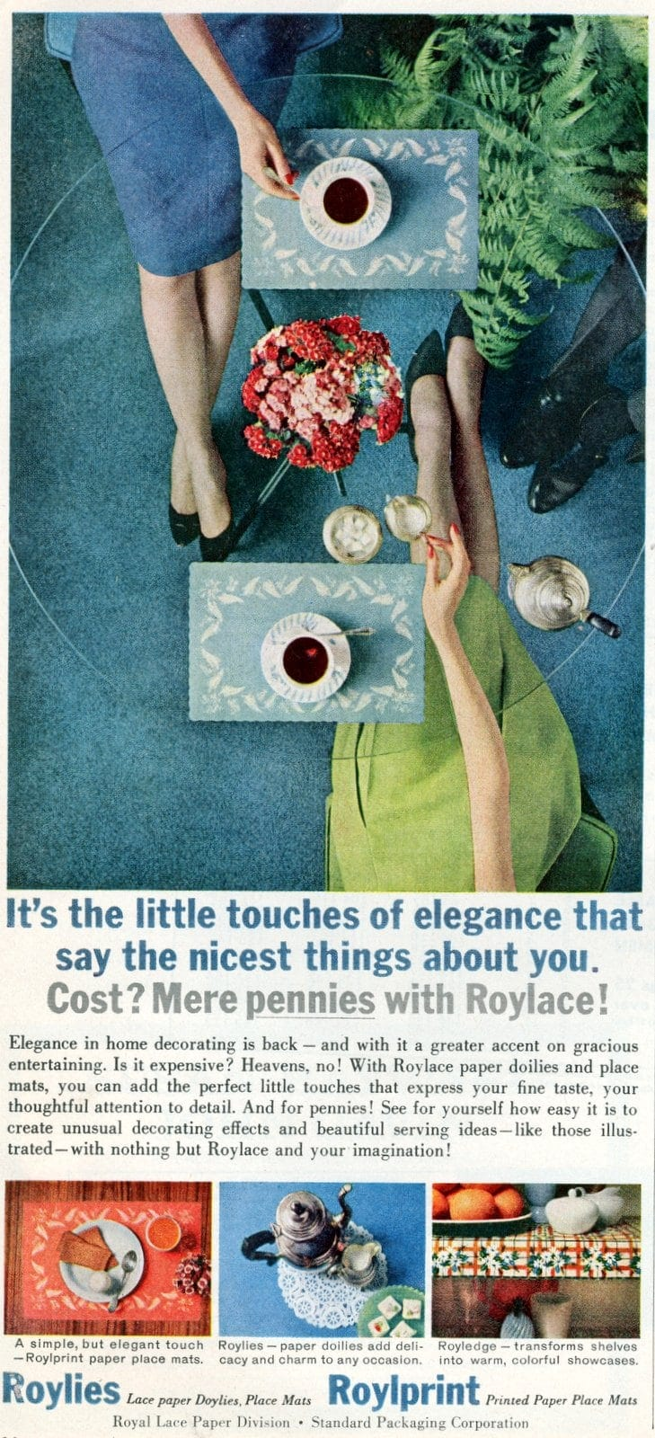 Roylace paper party products - placemats and doilies from 1961