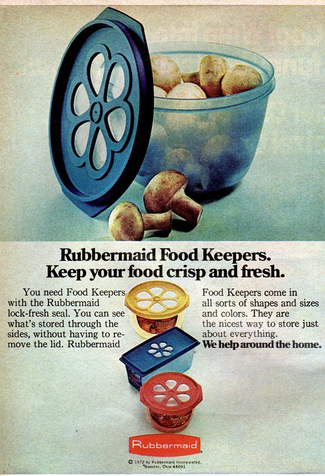 Rubbermaid Food Keepers with flower tops (1972)