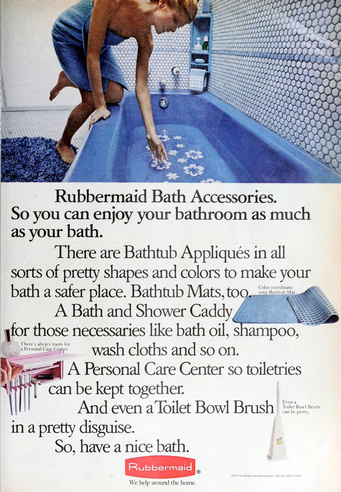 Rubbermaid bath accessories and flower-shaped bathtub stickers (1973)
