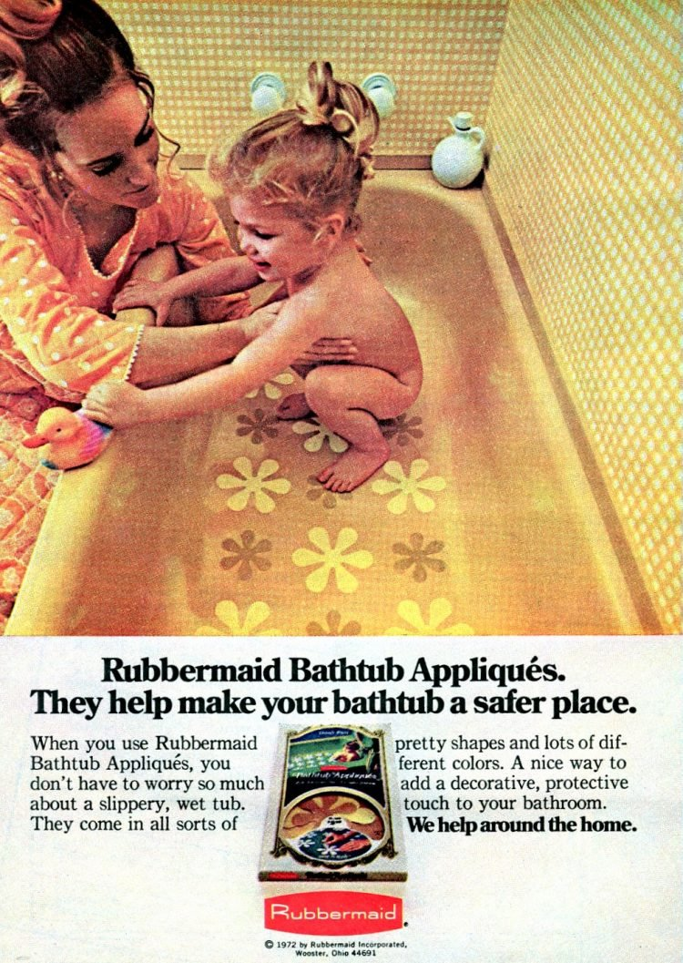 Rubbermaid bathtub appliques The vintage flower no-slip tub stickers 1972