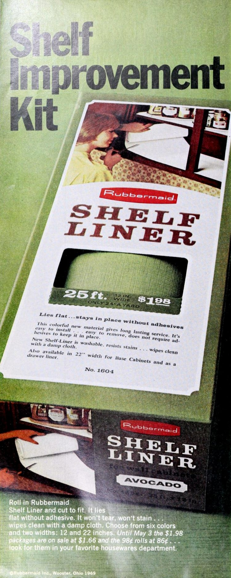 Rubbermaid shelf liner 1970