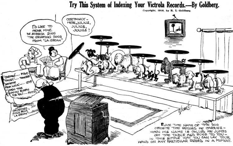 Rube Goldberg comic about Victrola records (1916)