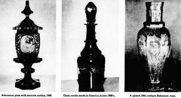 Ruby glass and Bohemian glass seen in 1961
