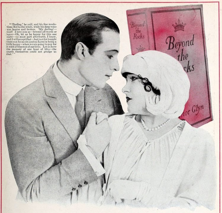 Rudolph Valentino, Gloria Swanson - couple starring in Beyond the Rocks 1922