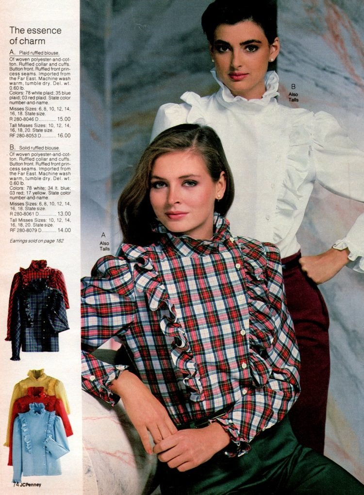 Ruffled blouses for juinors - Vintage clothing from the 80s