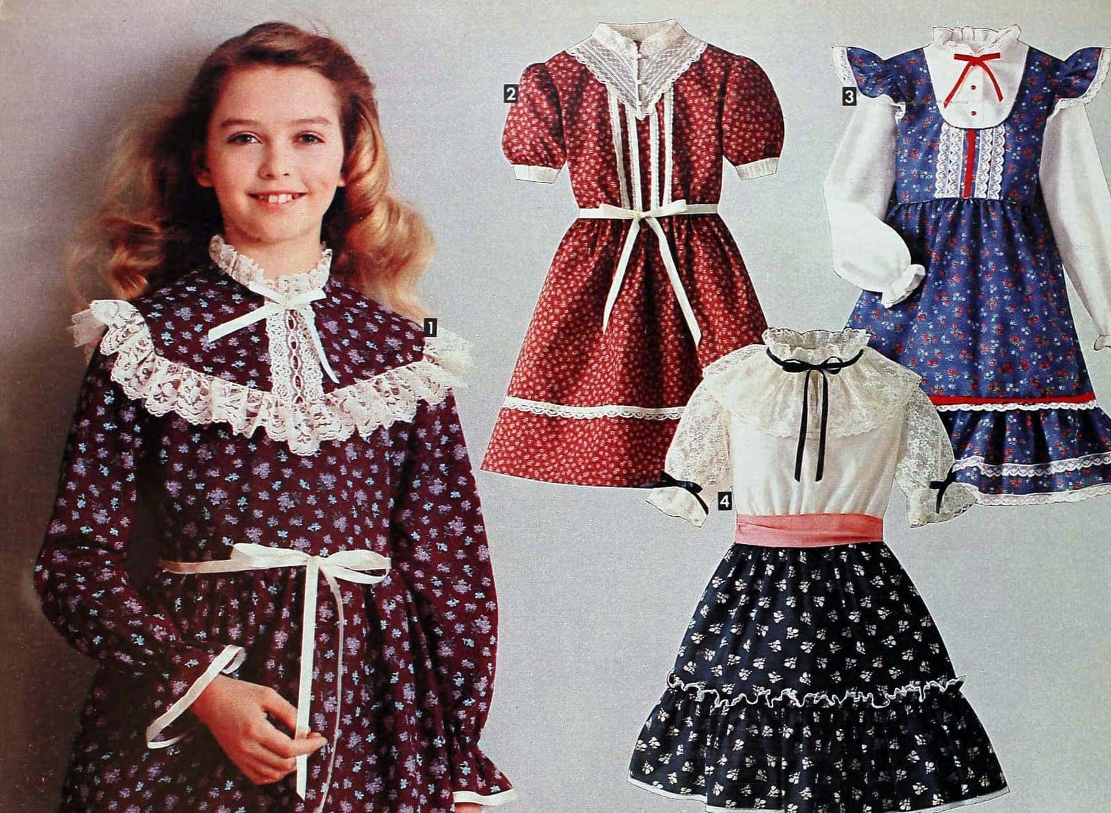 Ruffled lacy dresses for girls 1981; cottagecore, cottagecore dress, prairie dress