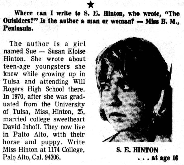 S E Hinton 1974