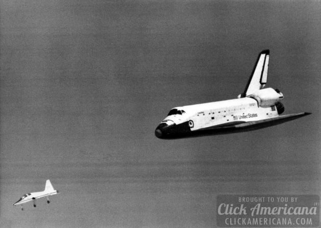 STS-1 Space Shuttle Columbia Glides Down Over Rogers Dry Lake 1981