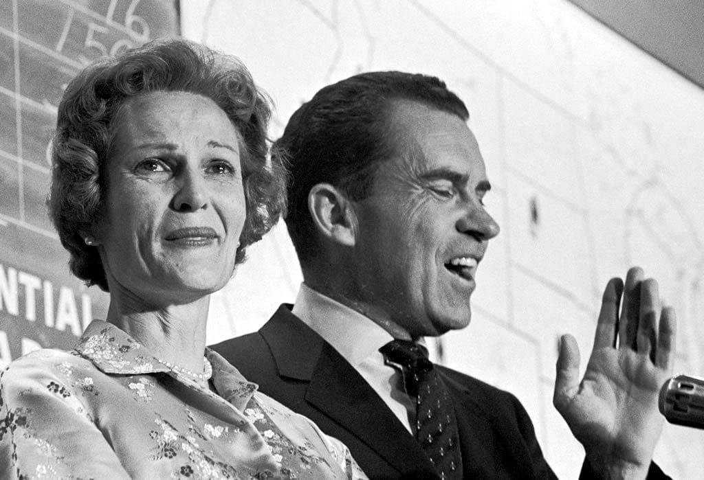 Sad Pat Nixon during Richard Nixon's concession of the election (1960)