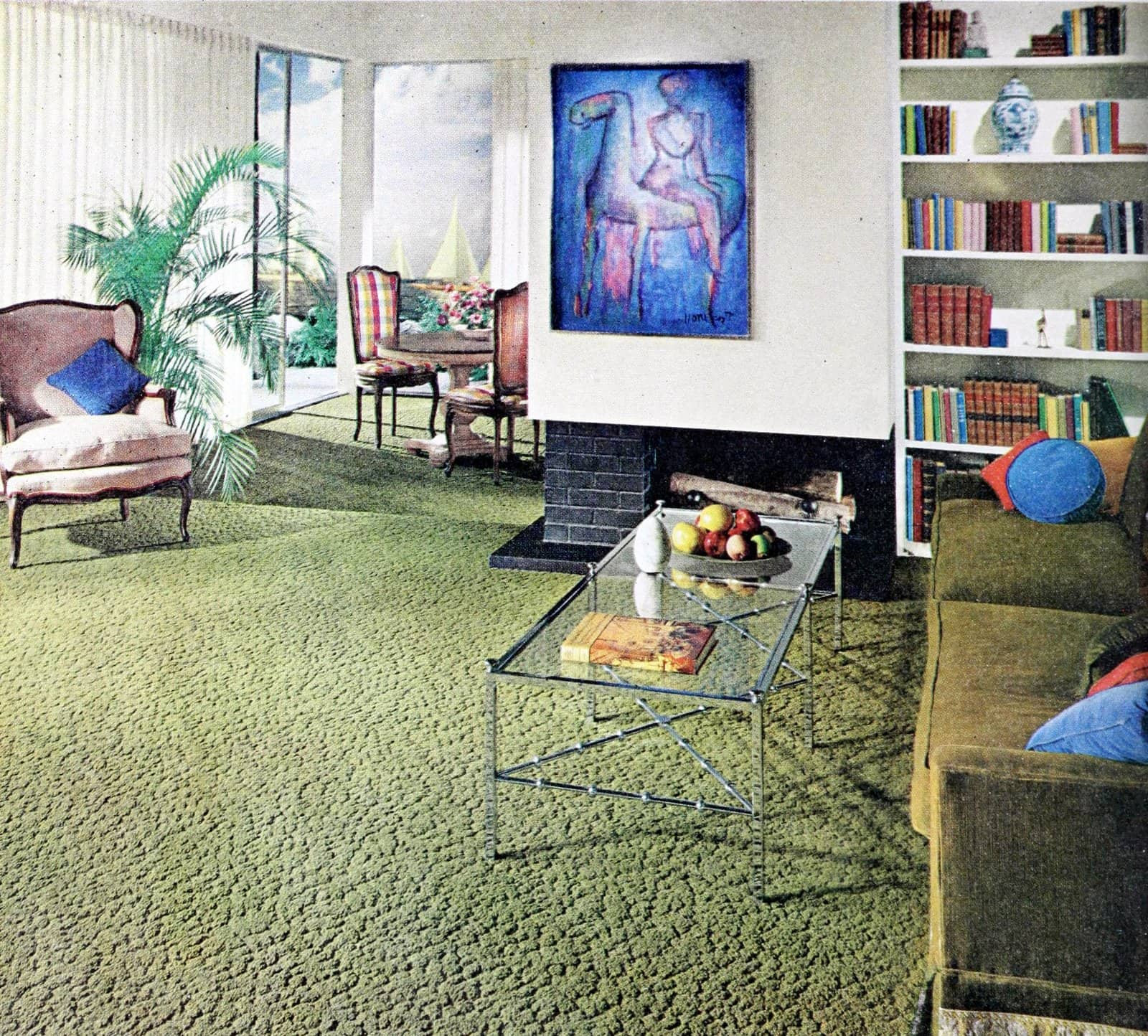 Sage green wall-to-wall sculpted carpet in a sixties living room (1965)