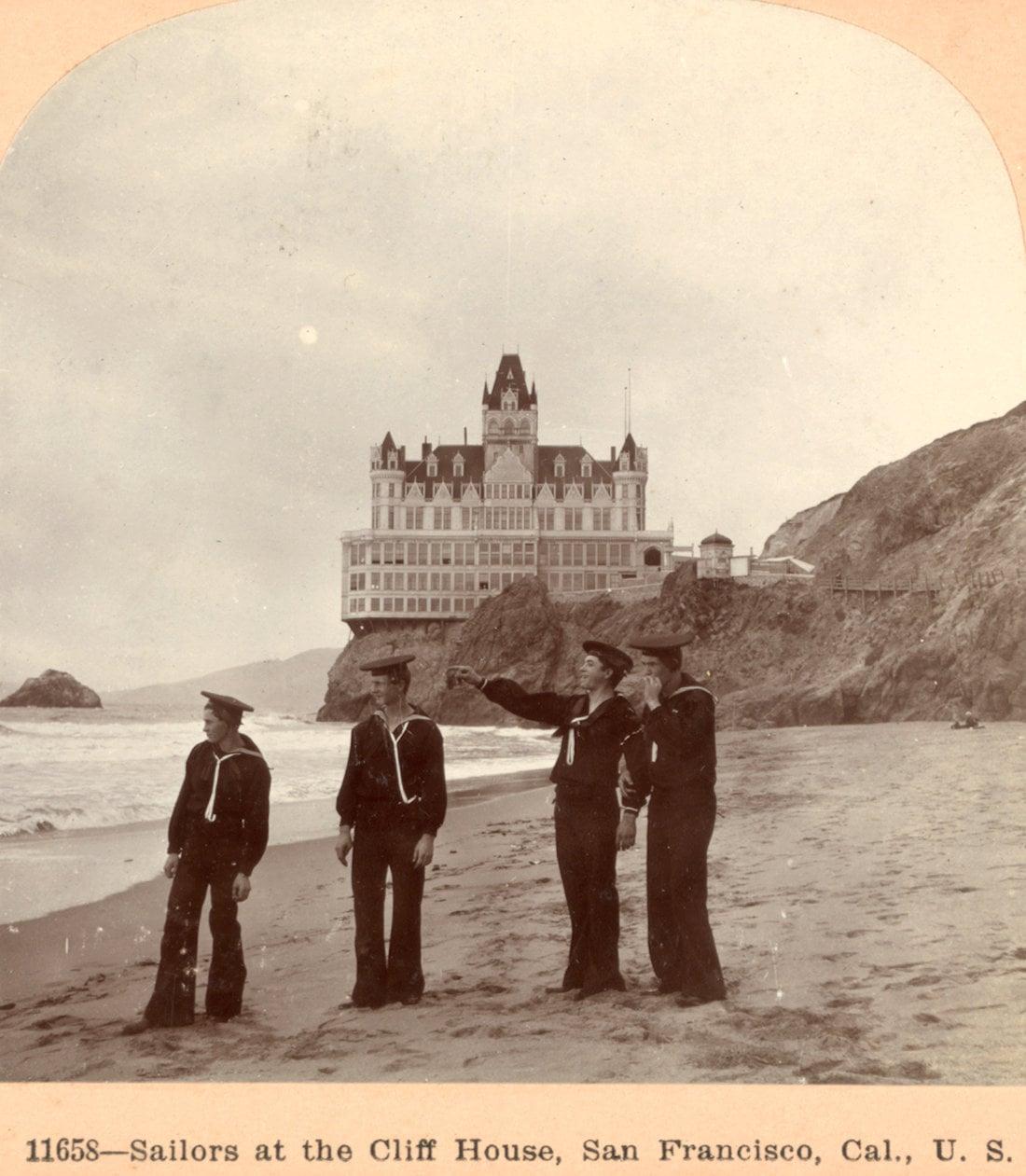 Sailors at the beach by SF Cliff House (1901)